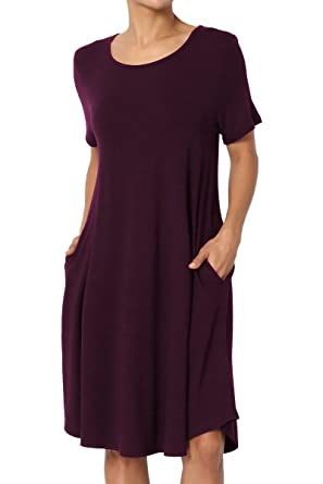 TheMogan Women's Short Sleeve Trapeze Knit Pocket T-Shirt Dress Plum S