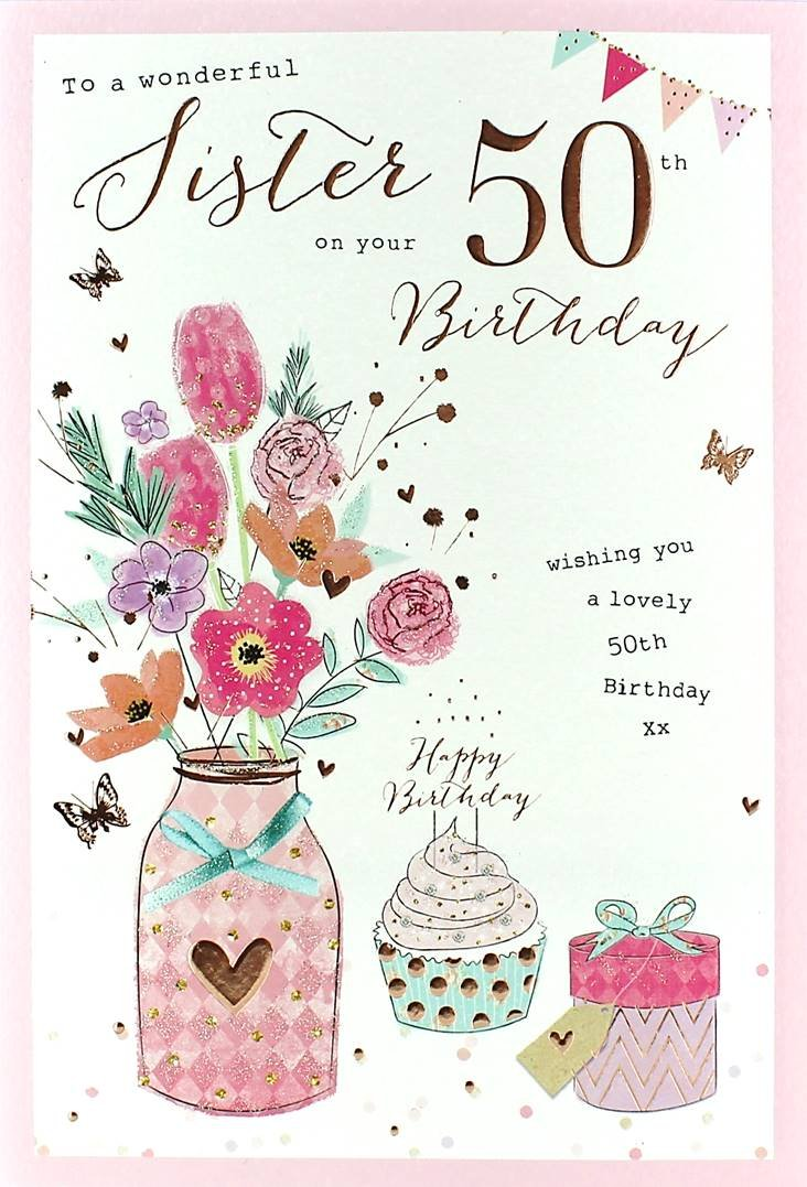 Amazoncom xpress yourself sister 50 christmas cards online sister 50th birthday birthday card amazoncouk kitchen home 71gk5xympql b00cyf50ya bookmarktalkfo Image collections