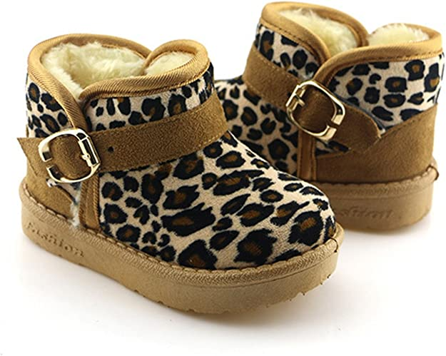 TAIYCYXGAN Baby Toddler Boys Girls Leopard Faux Fur Snow Boots Winter Warm Fleece Boots Shoes