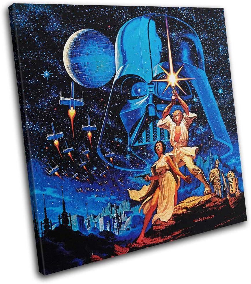 Star Wars Vintage Poster Movie Greats 40x40cm Single Boite de tirage dart Toile encadree Photo Wall Hanging encadre et Pret a accrocher -SG11-LO-A 00B Bold Bloc Design Canvas Print RC-2446