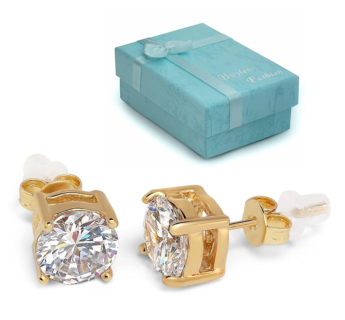 Buyless Fashion Girls Stud Earrings Round Crystal Gold Stainless Steel Gift Box