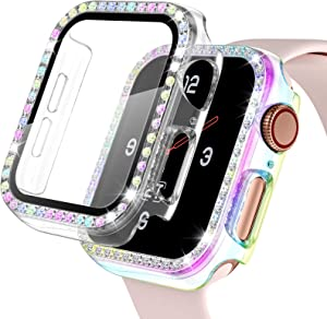 【2 Pack】 Easuny Hard Case for Apple Watch 38mm Series 3 2 1 - Bling Diamond Cover Overall Protective Accessories for iWatch Women, Clear/Colorful