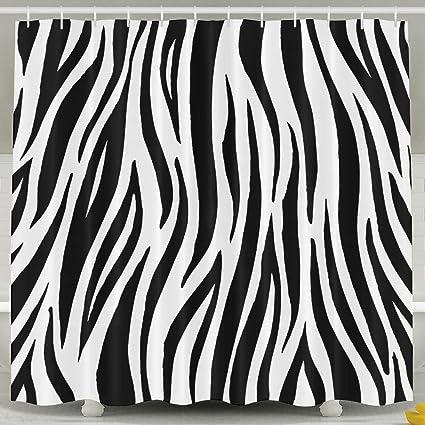 MropLtoa Creative Black White Zebra Print Shower Curtain Repellent Fabric Mildew Resistant Machine Washable Bathroom Anti