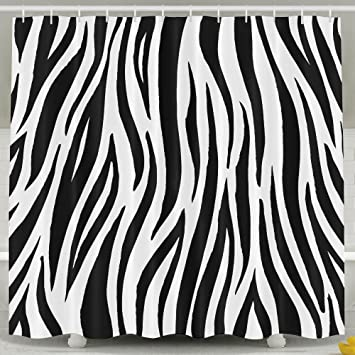 MropLtoa Creative Black White Zebra Print Shower Curtain Repellent Fabric Mildew Resistant Machine Washable Bathroom Anti