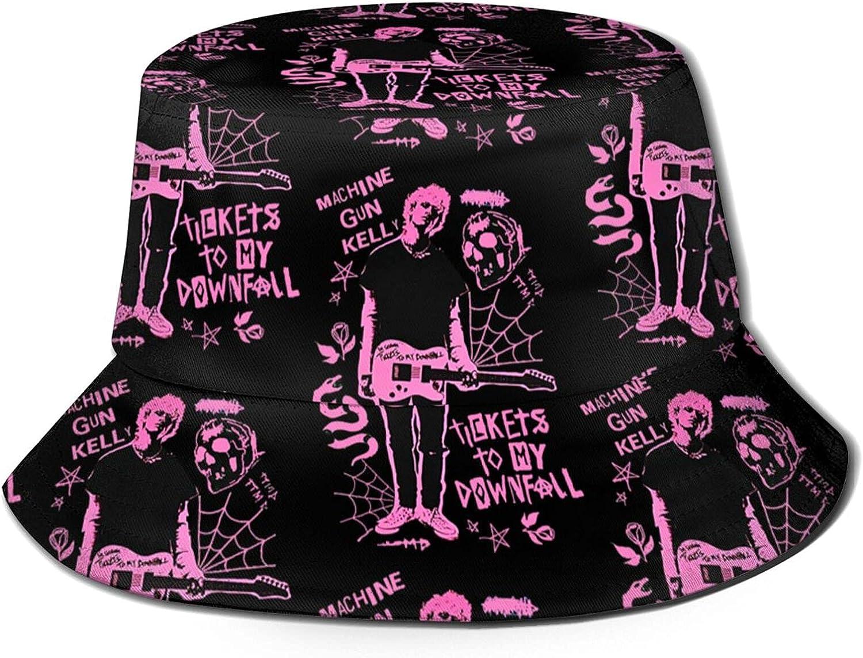 Mac-Hine Gun Ke-Lly Unisex Fashion Bucket Hat Summer Fisherman's Hat,Flat Top Breathable Bucket Hats