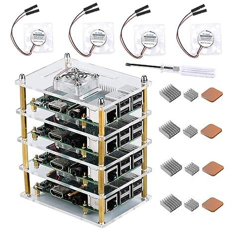 GeeekPi Raspberry Pi Cluster Case, Raspberry Pi Case with Cooling Fan and  Raspberry Pi Heatsink for Raspberry Pi 3 Model B+, Raspberry Pi 3/2 Model B