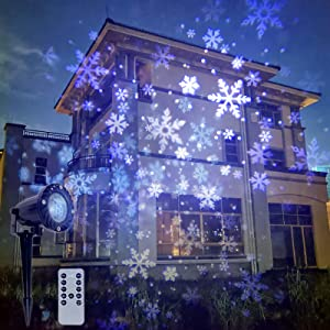 Christmas Snow Storm Projector Lights Outdoor Garden Stake Light LED Snowflake Lights Waterproof Landscape Remote Snowflakes for Indoor Gardens Homes Wedding Lawn Patio Holiday Party Decor