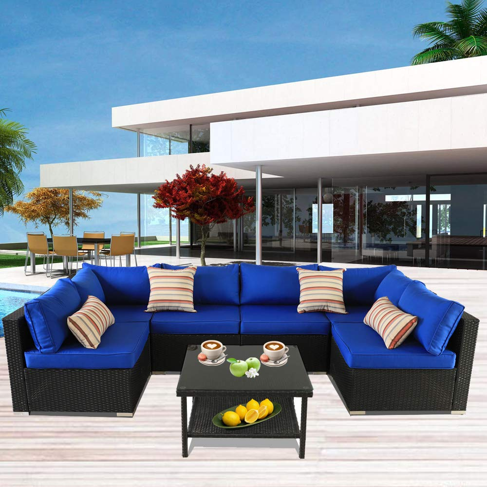Patio Rattan Furniture Outside Sofa Black Rattan Couch Set Garden Rattan Seating Couch Sectional Conversation Sofas Royal Blue Cushion by Outime