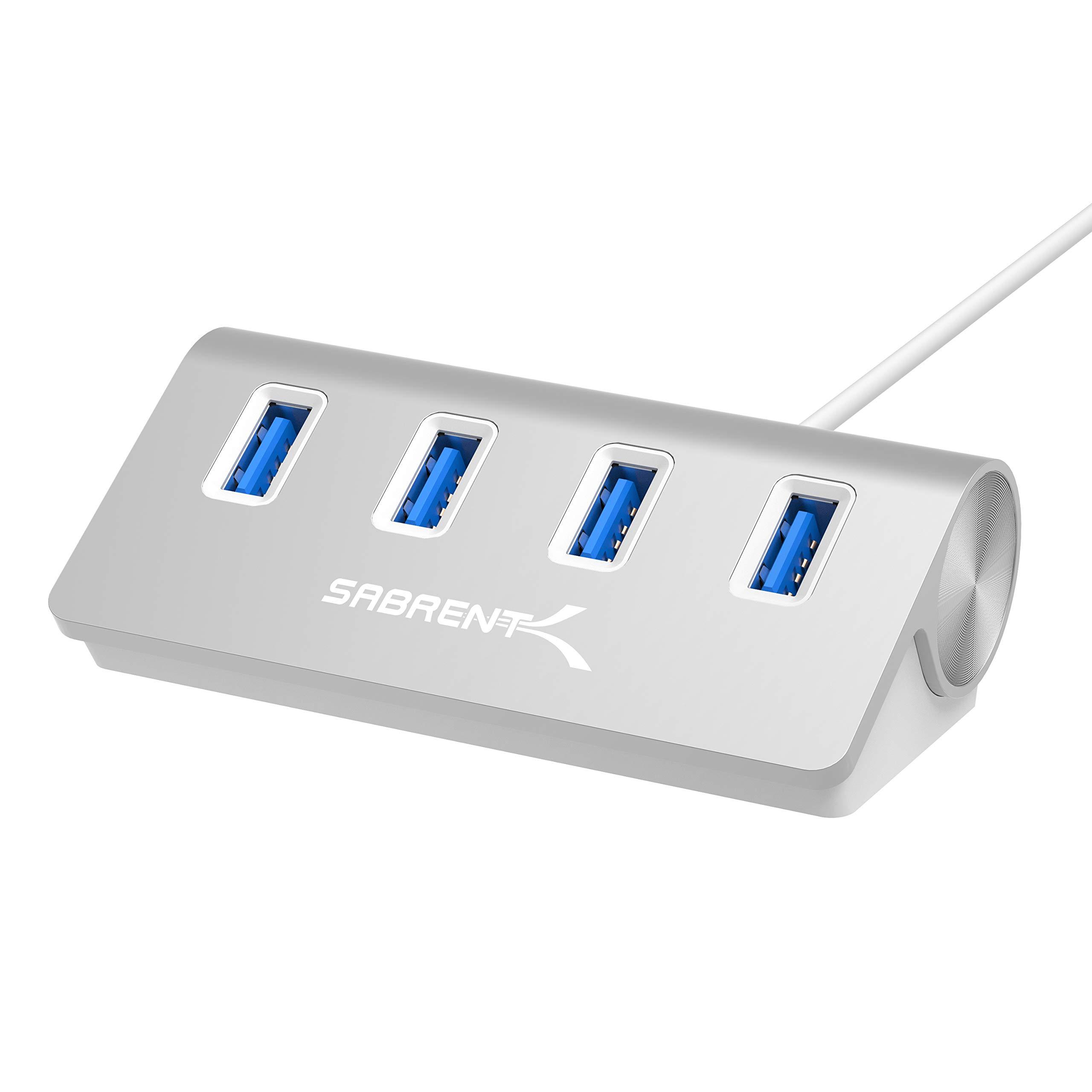 Sabrent Premium 4 Port Aluminum USB 3.0 Hub (30'' cable) for iMac, MacBook, MacBook Pro, MacBook Air, Mac Mini, or any PC [Silver] (HB-MAC3)