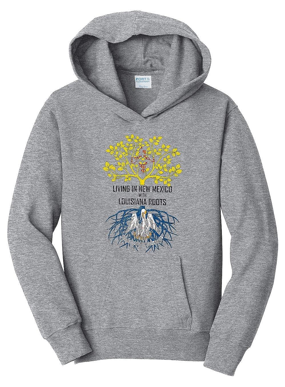 Tenacitee Girls Living in New Mexico with Louisiana Roots Hooded Sweatshirt