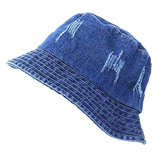 0f13aaf1175 Unisex Bucket-Hat Washed Sun Protection Wide-Brim Fishing Cap Summer ...