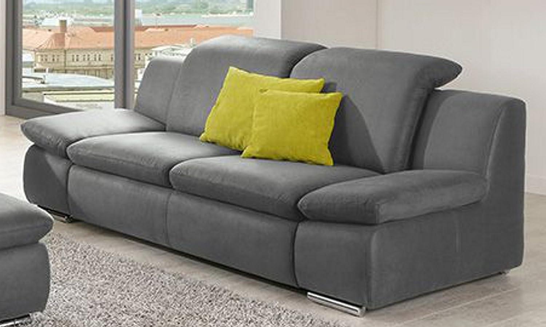 Sofa La Isla Grau 2 Sitzer Couch Lederoptik Polstergarnitur