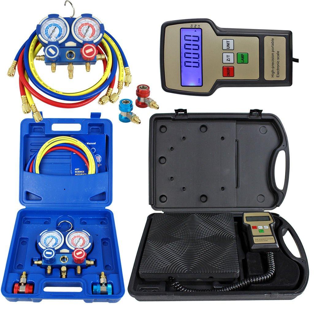 Zeny Portable 220 Lbs Digital Refrigerant Electronic Charging Scale HVAC AC R134a Manifold Gauge Set With Case (Electronic Scale & Manifold Gauge Set)