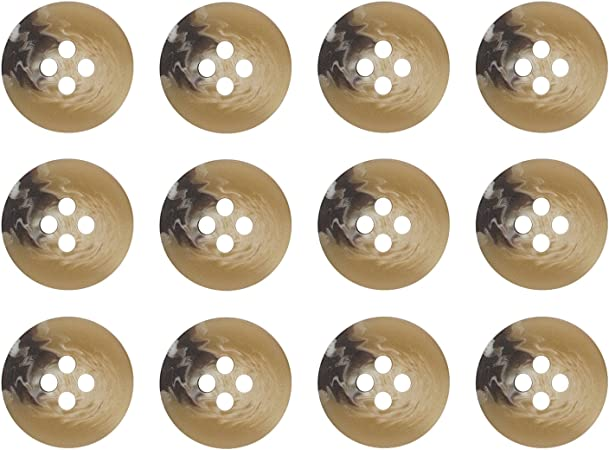 ButtonMode Khakis, Chinos and Cotton Pants Buttons Set Includes 1-Dozen Buttons Measuring 15mm (5/8 Inch), Mottled Brown, 12-Buttons