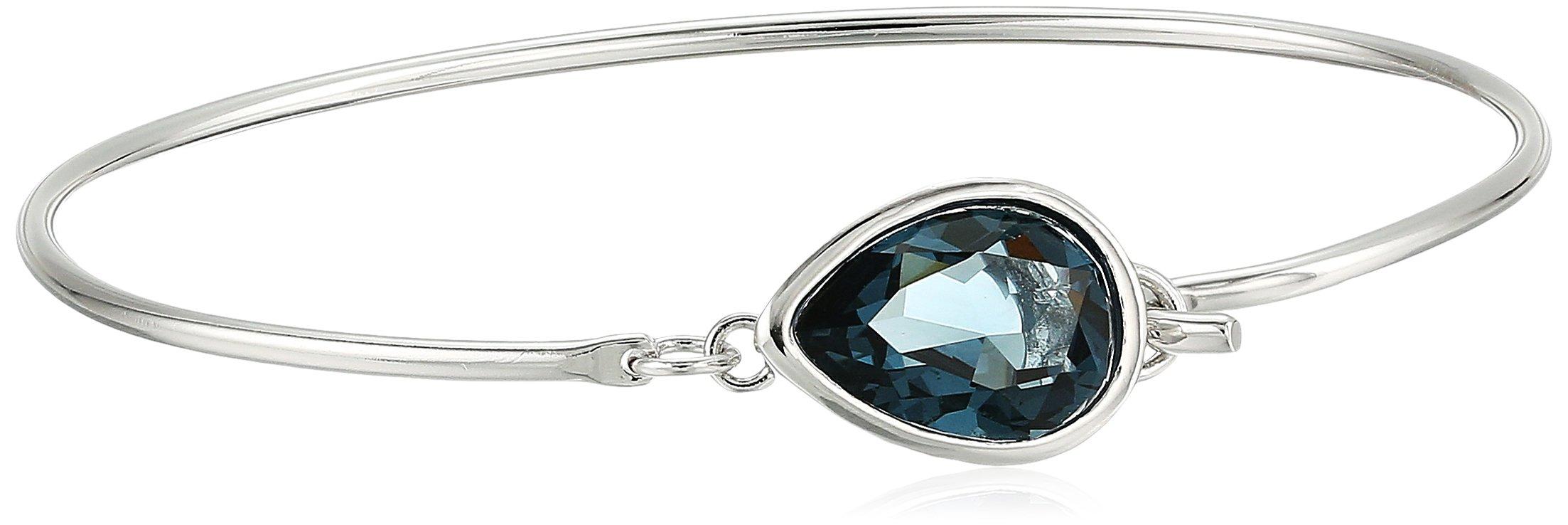 Fine Silver Plated Bronze Blue Teardrop Wire Bangle Bracelet Made with Swarovski Crystal (12mm, 7'')