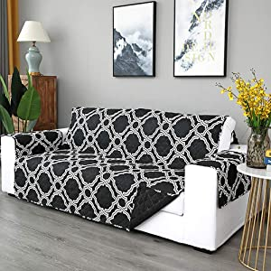 Reversible Couch Cover,Quilted Printed Furniture Protector with Strap Protect from Kids Dogs and Pets Sofa Cover Slipcover-Black 167x196cm(66x77inch)