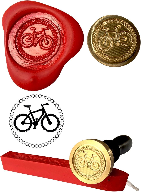 Sello de cera, bicicleta de montaña invitación Coin Rojo y cera ...