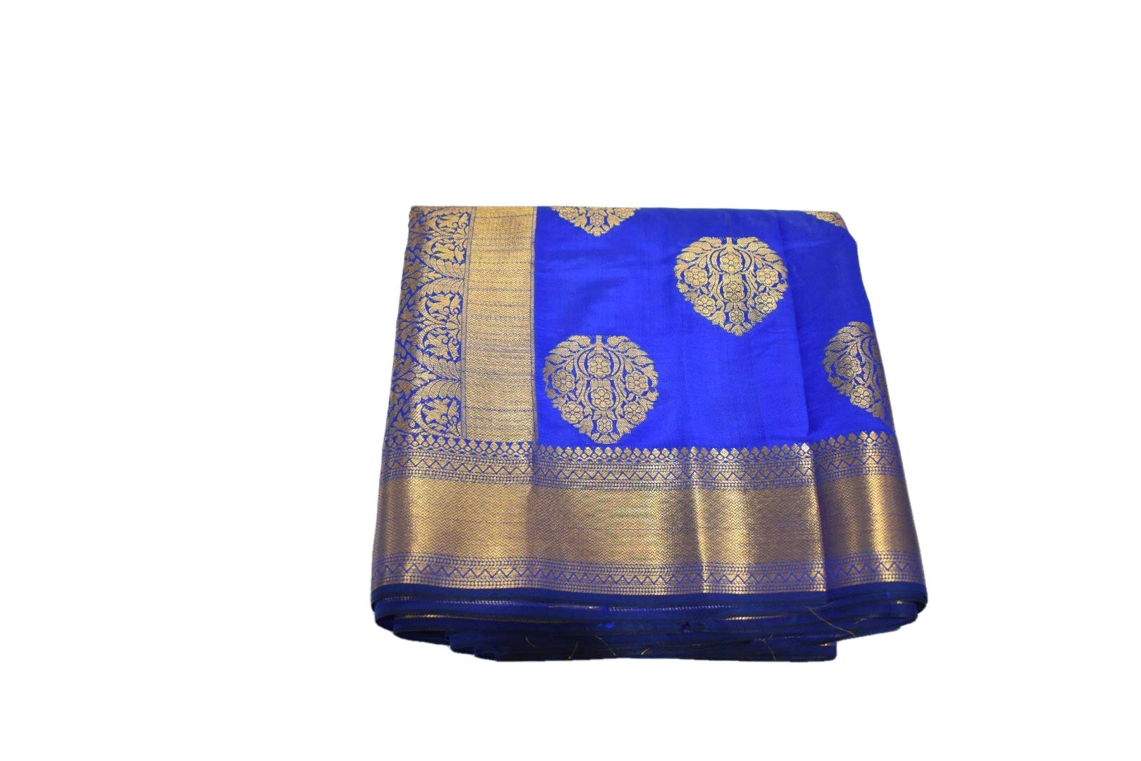 Rainbow Collections Silk Blend Saree with zari Design and Border in Blue Color. Saree Fall and Edge is Fully Stitched.