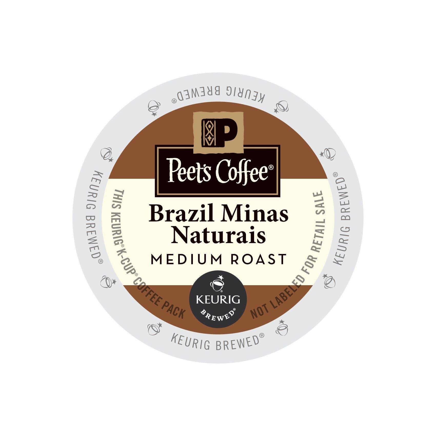 Peet's Brazil Minas Naturais Coffee Medium Roast Single Serve 96 Cups