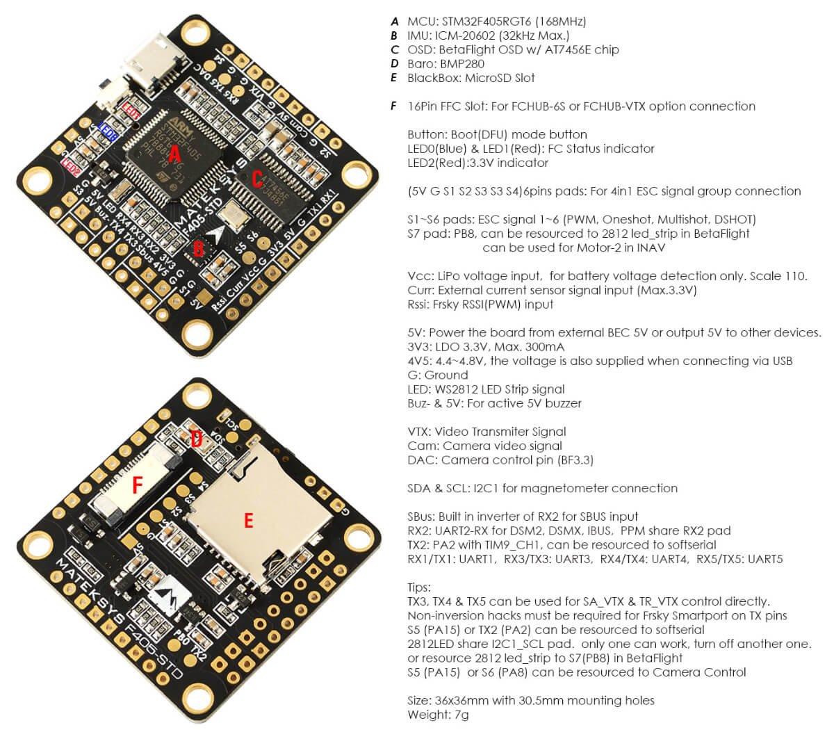 Intergreted Bateflight OSD, BEC 5V, Micro SD card slot, VCP 5xUARTs, 6 PWM // DSHOT Outputs Matek F4 Flight Controller F405-STD Contr/ôleur de vol F4 for FPV Racing RC Drone Quadcopter by LITEBEE