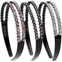 LONEEDY 3 Pack Fashion Rhinestone en Crystal harde hoofdbanden, dubbele rij antislip tanden haarband voor vrouwen (kleur…