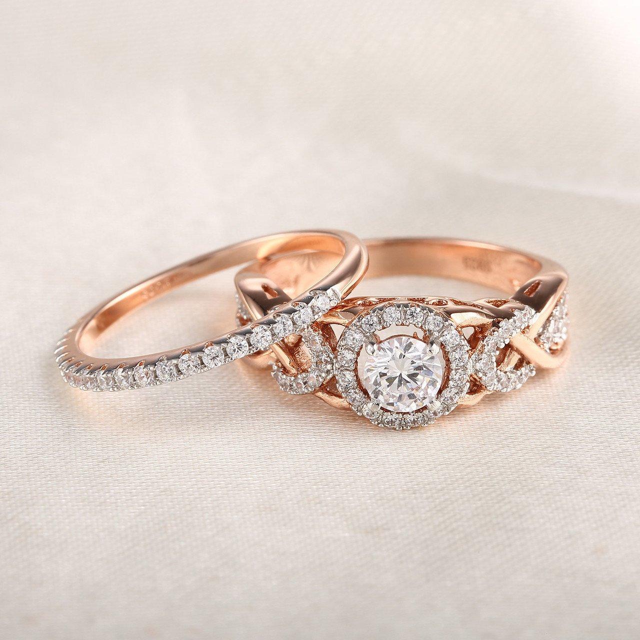 GuqiGuli Twist Shank Cubic Zirconia Bridal Engagement Wedding Ring Set in Rose Gold Plate Sterling Silver