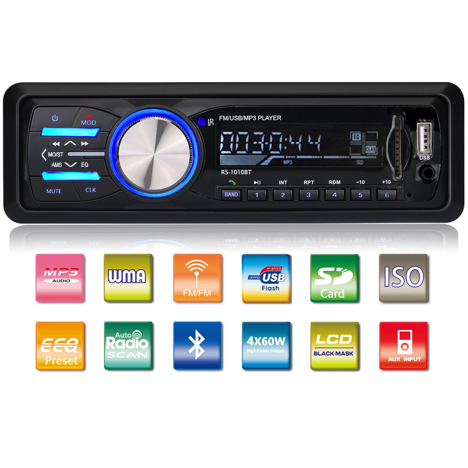 Gemoor car stereo receiver with bluetooth in dash single din car radio mp3
