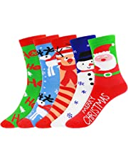 Amosfun Women's Christmas Holiday Casual Socks Cute Pattern Colorful Cotton Socks Christmas Gifts, 5 Pairs