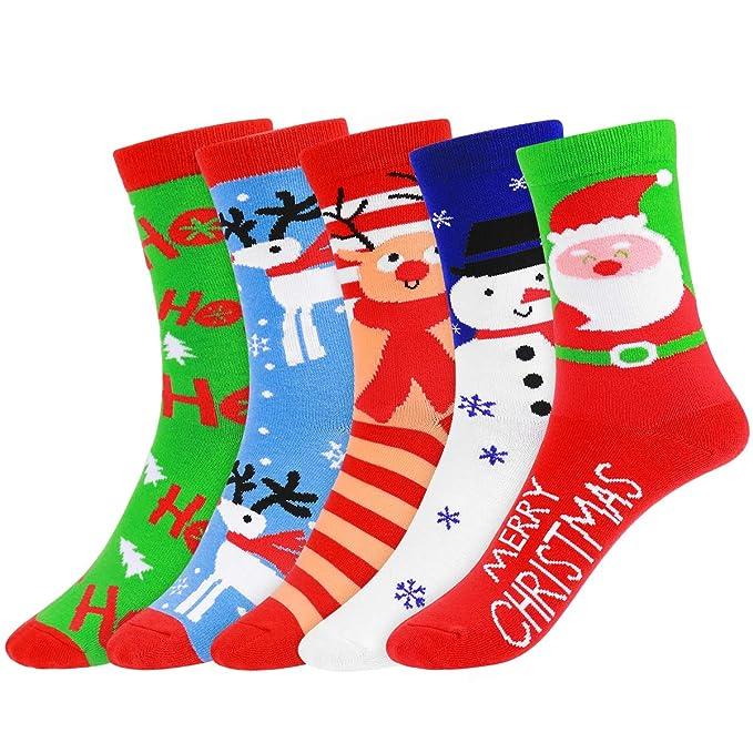 Amosfun - Calcetines - Navidad - para mujer ver fotos Medium: Amazon.es: Ropa y accesorios