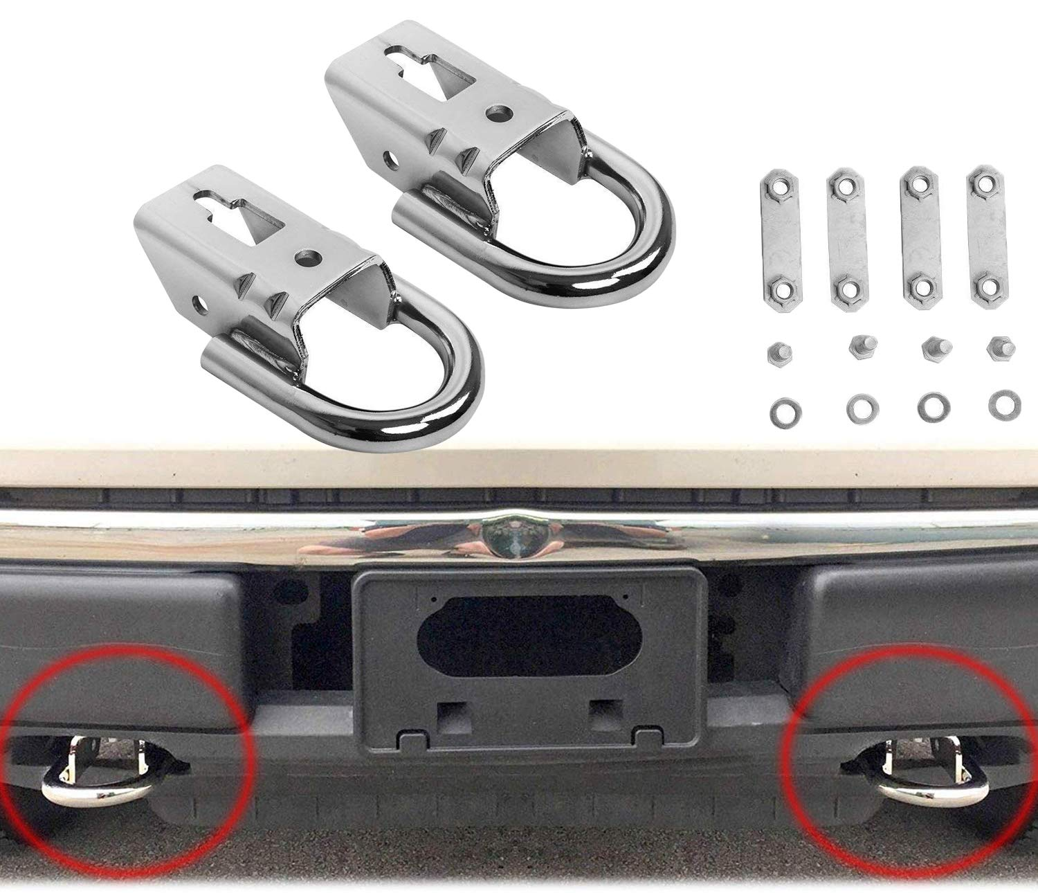 Hydraker 2 Pcs Chrome Tow Hooks for Ford F150 09-19 Trucks Genuine RHA with Mounting Hardware