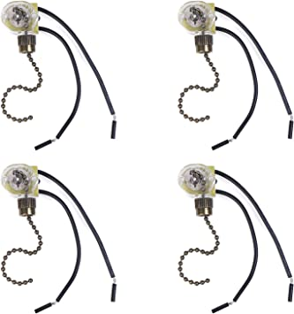 6 A//125V AC 6 inch Wire Terminal,Pack of 2 Brass Pull Chain Electrical Pull Chain Switch,ON-OFF Fan-Light Switch /& Pull Chain