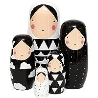 Petit Monkey Black And White Nesting Dolls