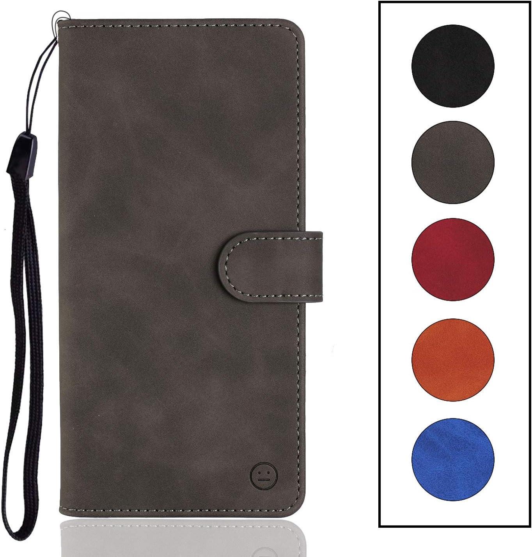Langlee - Funda para BQ Aquaris U2/U2 Lite, piel sintética, ranuras para tarjetas y monedas, cierre magnético, correa de mano