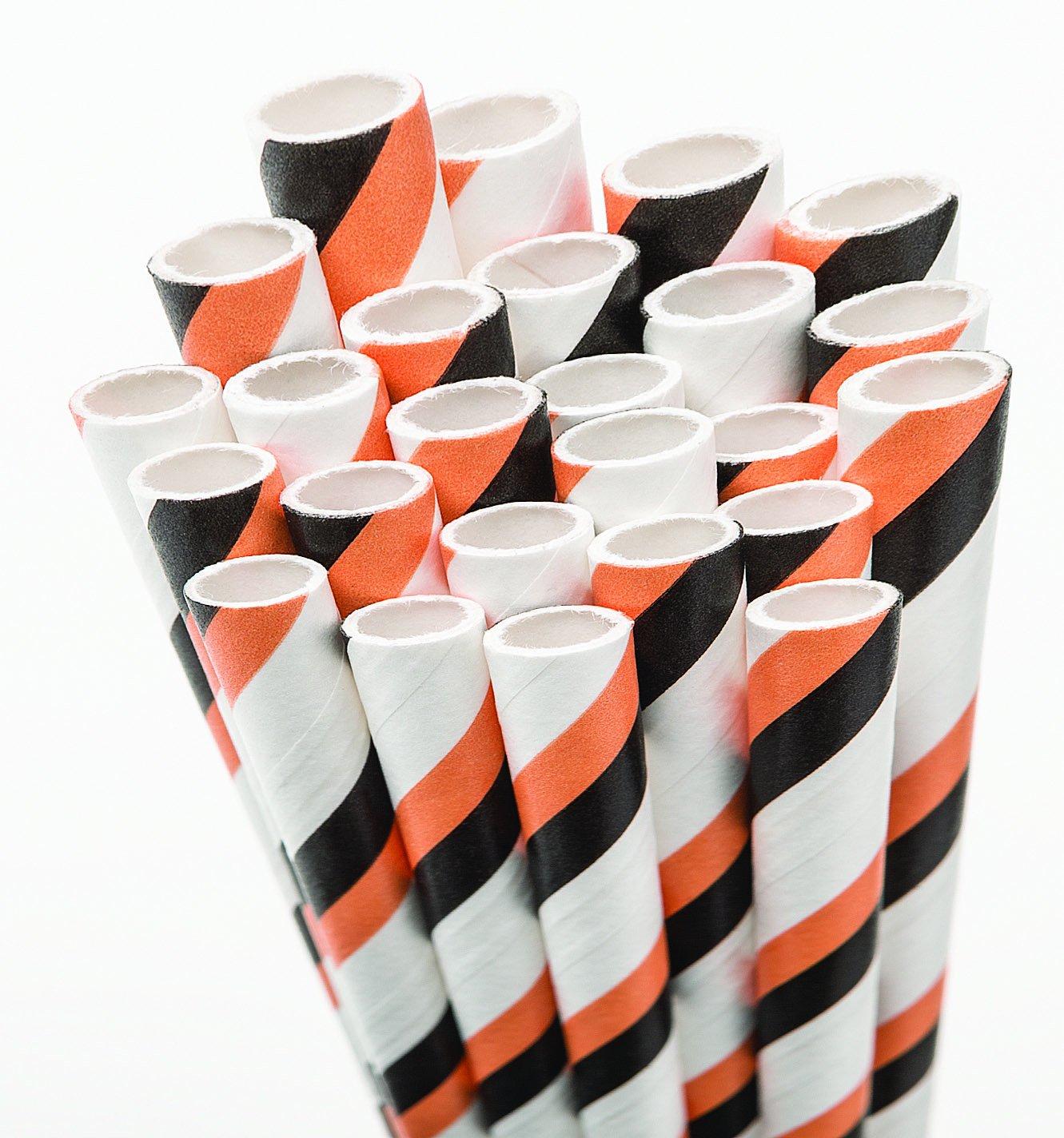 Aardvark 61520039 Paper Drinking Straw, 7/32'' Diameter x 7-3/4'' Length, Pumpkin Orange and Jet Black Stripe (8 Boxes of 600)