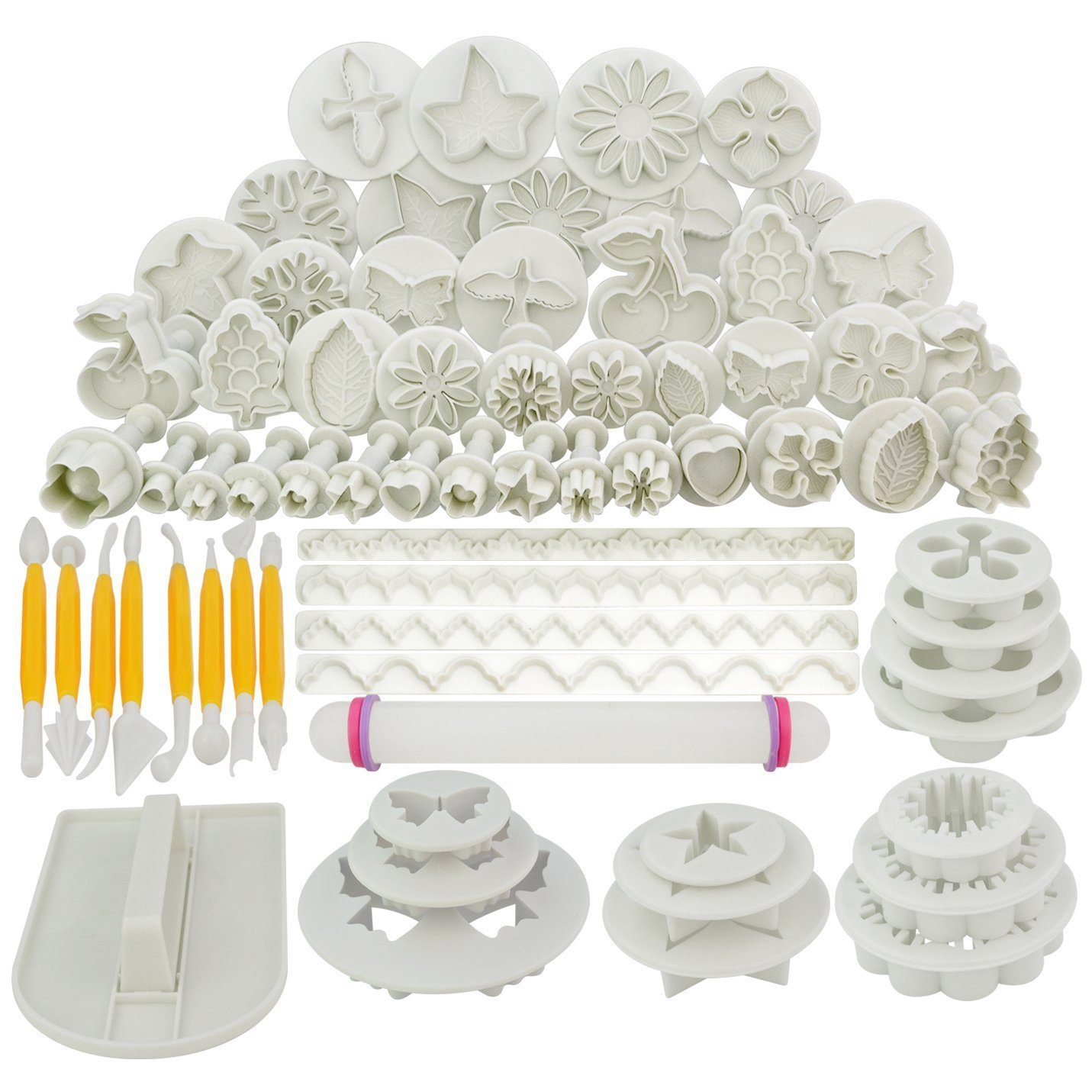 Marrywindix 68pcs 21 Sets Cake Decration Tool Set By Catalina Fondant Cake Cutter Mold Sugarcraft Icing Decorating Flower Modelling Tools by Marrywindix