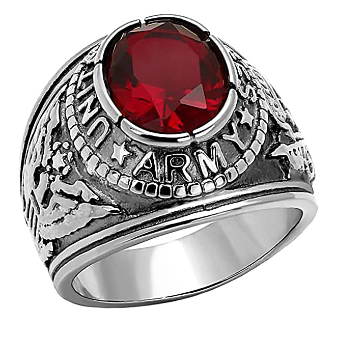 Army Mens 50ct Simulated Ruby USA Army Military Signet Ring 316