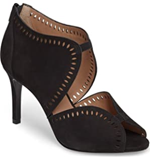 6845d982707 Klub Nico MALLIA Suede Perforated Sandal Open Front Slender Heel Pump  Booties