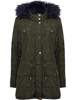 Tokyo Laundry Womens Oqena Coat Detachable Faux Fur Hooded Padded Parka Jacket
