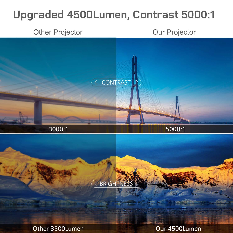 R/étroprojecteur 4500 Lux Multim/édia Full HD Vid/éoprojecteur vid/éo Prend en Charge 1080p Full HD LED 50000 Heures Compatible avec Ordinateur Portable TV Cl/é PS4 HDMI VGA TF USB AV