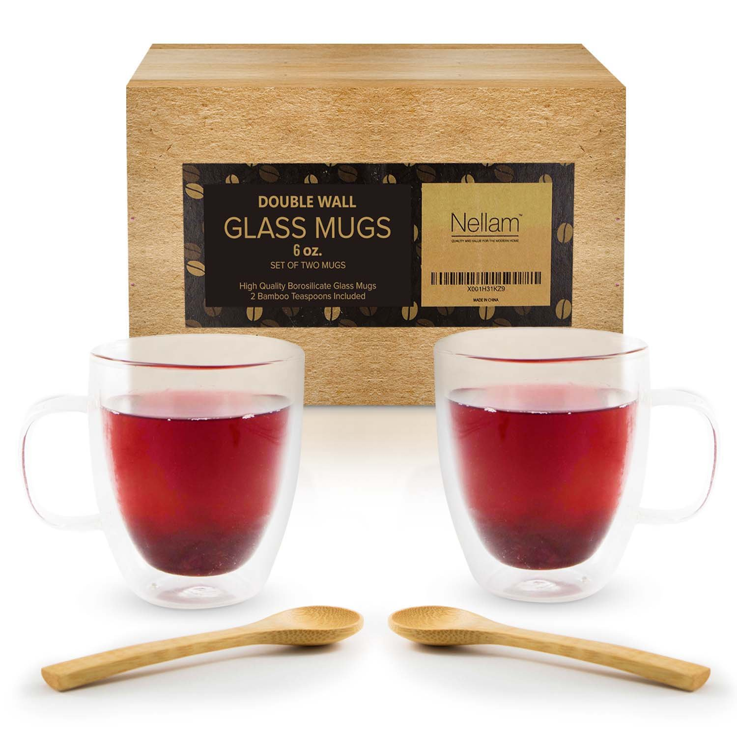 Insulated Glass Coffee Mugs - 2 Cups, 6oz Size - Clear Thermal Double Wall Tumbler Set with Handles and Bamboo Teaspoons - For Espresso, Tea, Latte, Cappuccino - BPA Free, Dishwasher & Microwave Safe