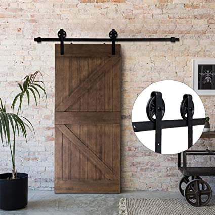 Bonnlo Antique Sliding Barn Door Hardware Kit for Closet, Garage, Kitchen,  Interior & - Amazon.com: Bonnlo Antique Sliding Barn Door Hardware Kit For Closet