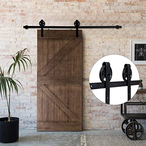 Amazon Bonnlo 8 Ft Sliding Barn Close Wood Door Track Hanging