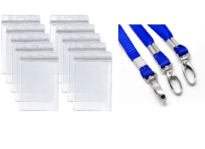 95個パック 透明 縦型 IDカード ネームホルダー (3.25 x 2.25インチ) 19インチのネックストラップ付き   B07MWD3NJR
