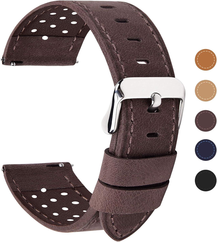 Fullmosa Correa de Reloj 18mm 20mm 22mm 24mm liberación rápida, 5 Colores Breeze Correa de Cuero de Banda de Piel de Becerro, 24mm Café