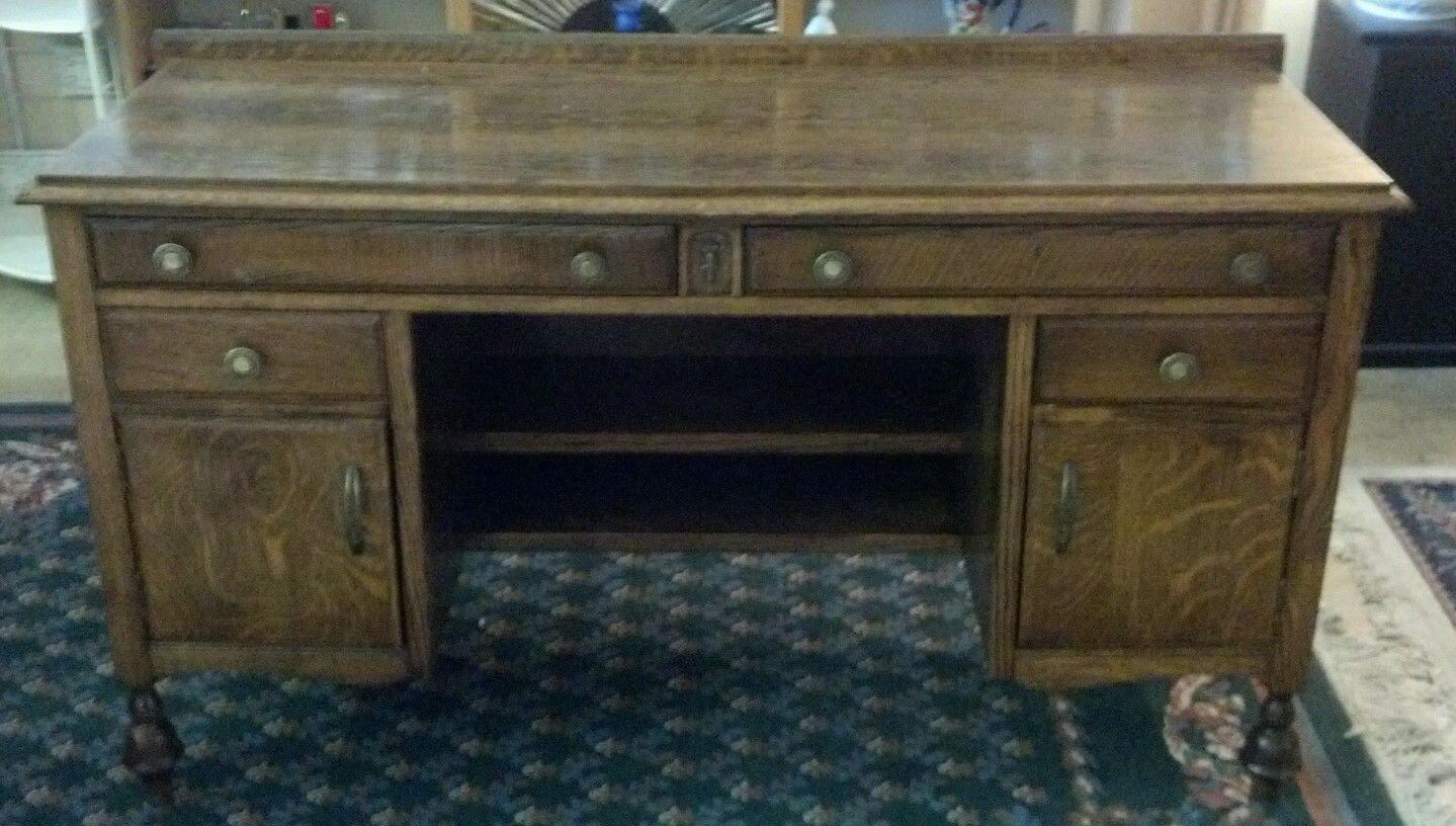 Antique Solid Oak Desk 53'' X 20'' Stands 30'' Brass Handles Nice Inlay BEAUTIFUL!!