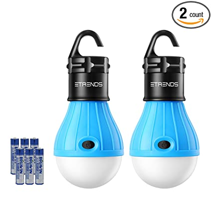 2 Pack E-TRENDS Portable LED Lantern Tent Light Bulb for Camping Hiking Fishing Emergency Light, Battery Powered Camping Lamp with 6 AAA Batteries