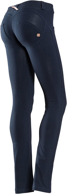 Freddy WR.UP Pantalon Effet Amincissant pour Femme Taille Basse Coupe Droite Bleu Bleu Roi XS