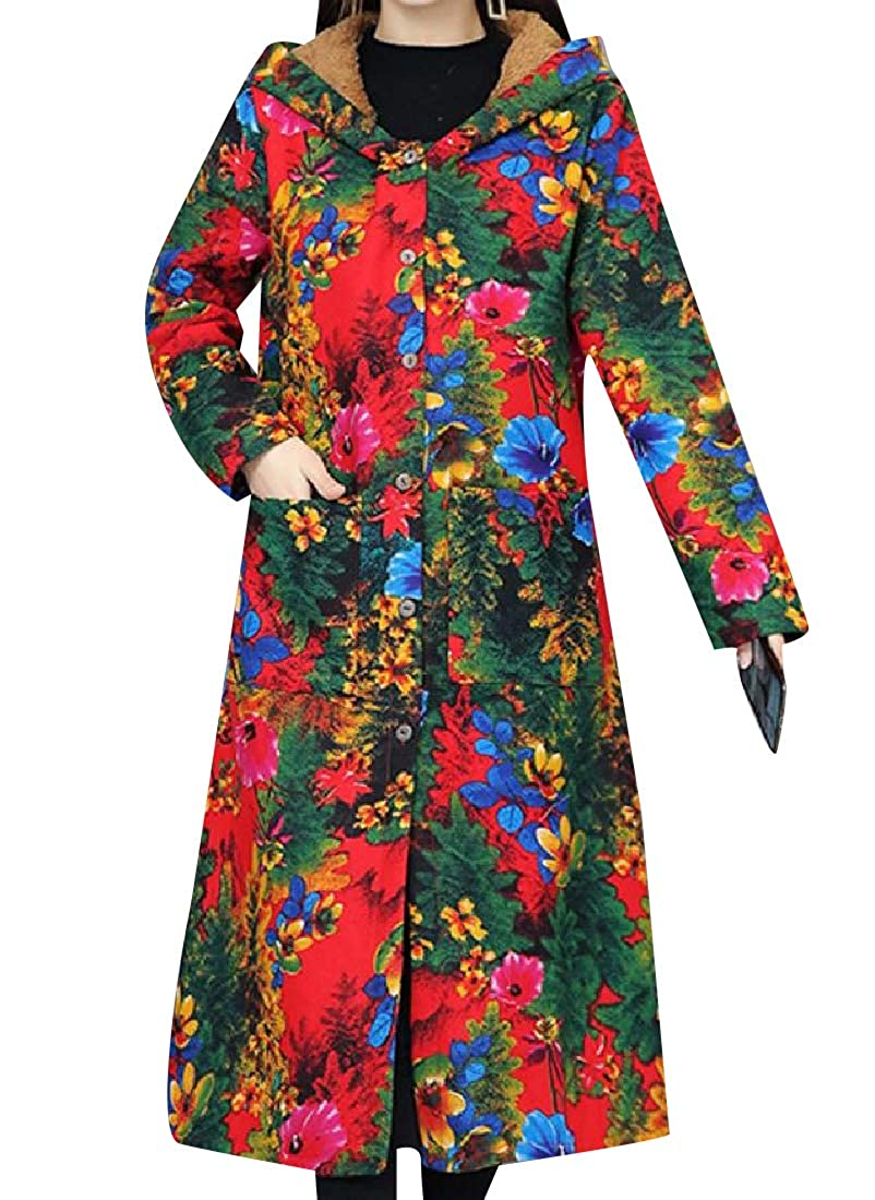 YUNY Women Graphic Print Windproof Velvet Lined Quilted Jacket 4 M