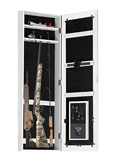 Gun Cabinet Jewelry Mirror Armoire (His And Heru0027s) Rifle U0026 Pistol Safe  (Holds