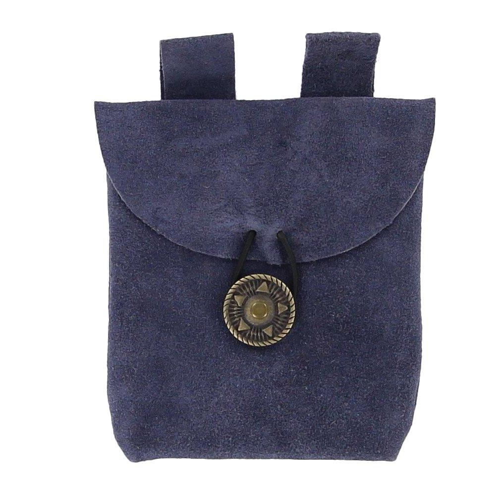 Small Handmade Slate Blue Suede Belt Pouch